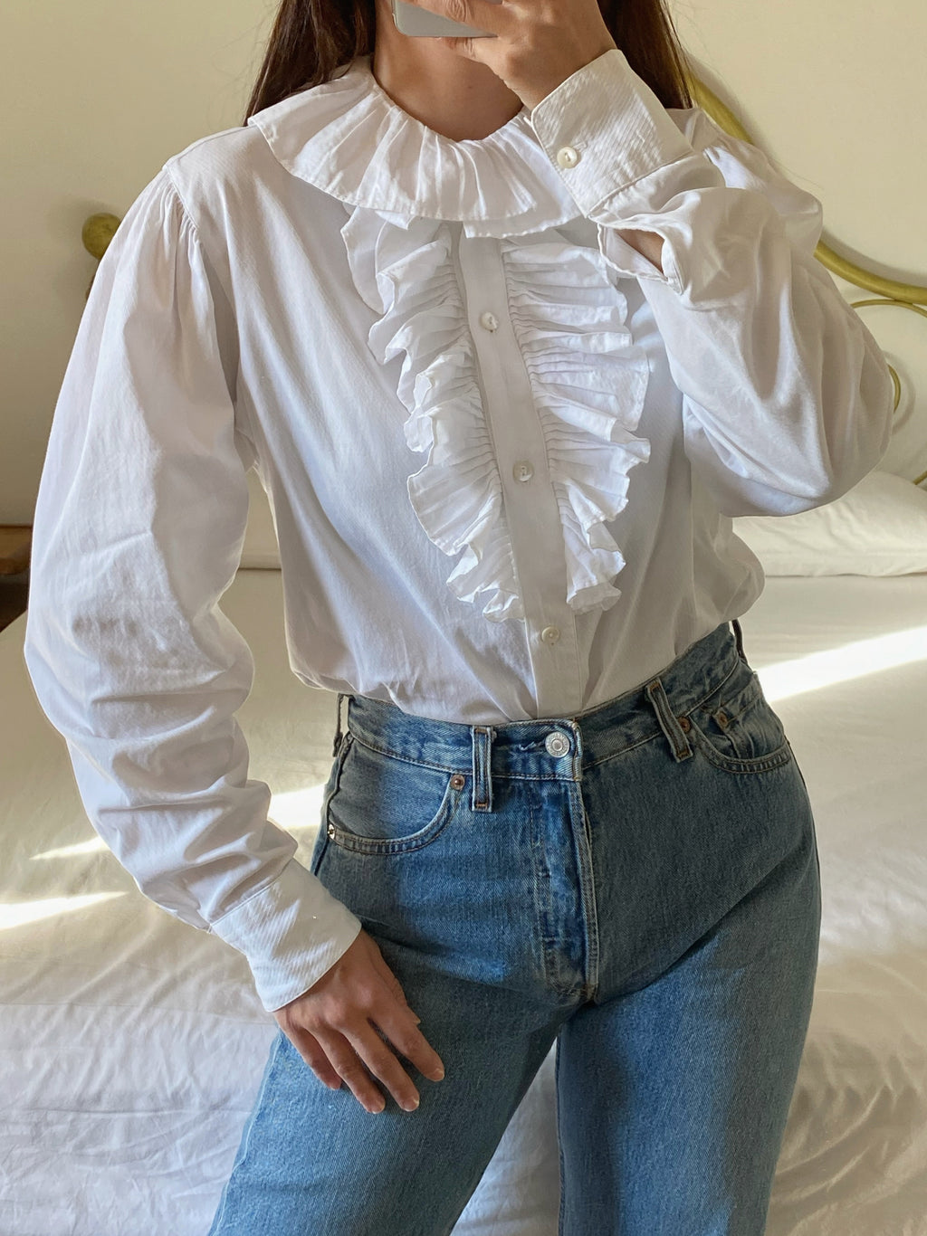 Vintage Kenzo pure cotton ruffled collar puff sleeve shirt