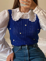 Vintage handmade pure cotton crochet top