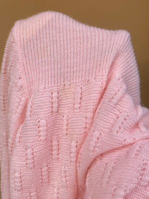 Vintage Italian wool blend embroidered pink cardigan