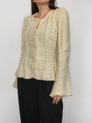 Vintage handmade cable knit wool cream cardigan