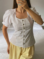 Vintage Austrian pure cotton lace trimming puff sleeve blouse