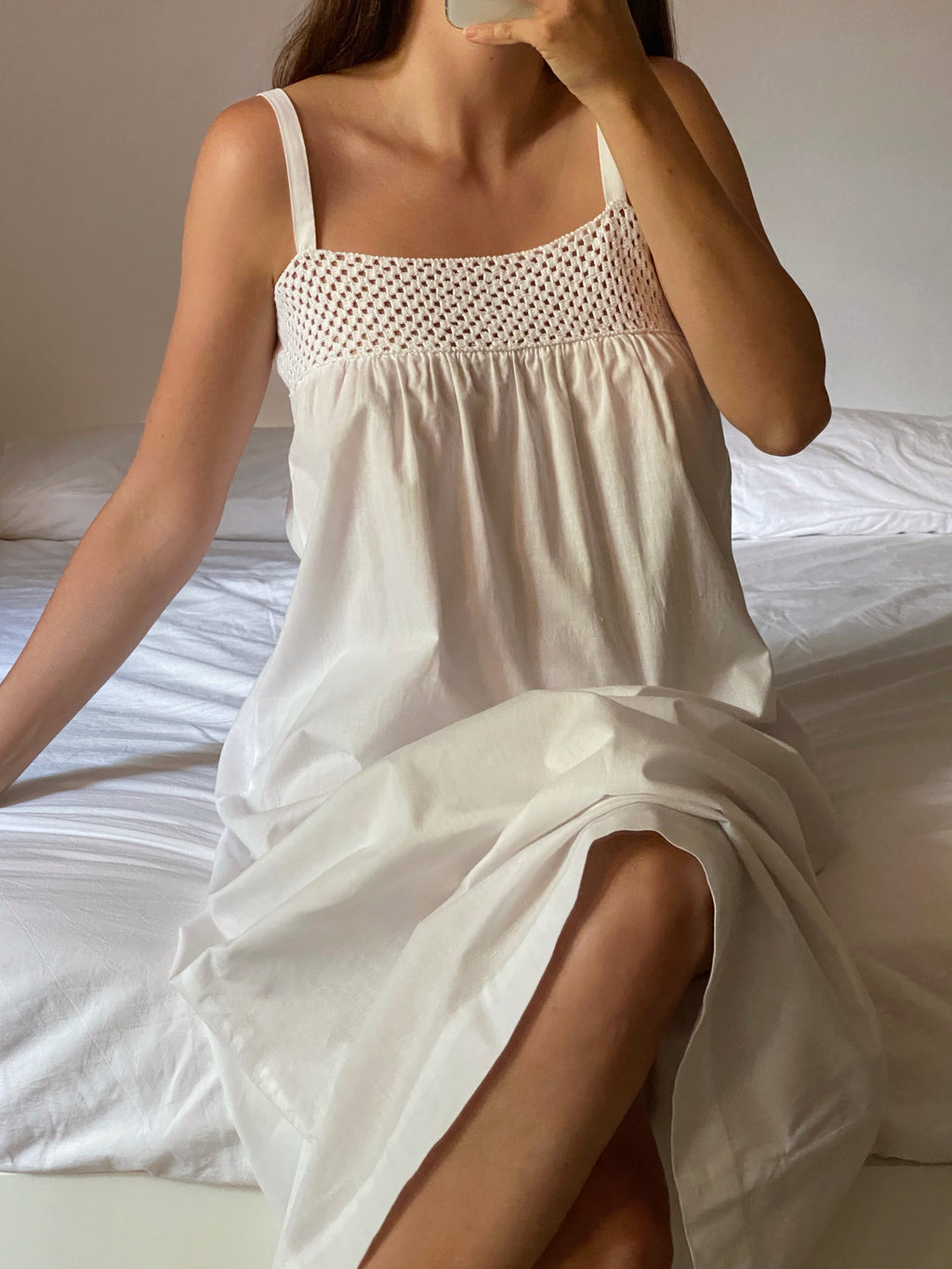 Vintage antique crochet details pure cotton slip dress