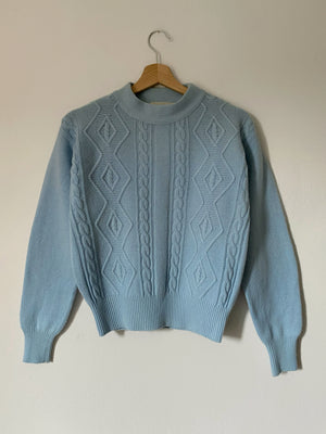 Vintage Italian pure wool knitted light blue pull