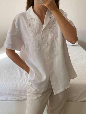 Vintage pure linen hand embroidered blouse