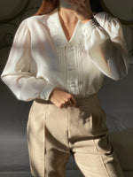 Vintage puff sleeve embroidered collar white blouse