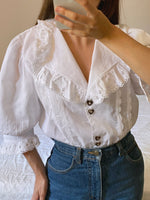 Vintage Austrian lace big collar puff sleeve blouse