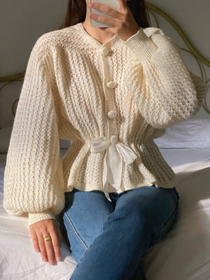 Vintage handmade pure wool puff sleeve cream cardigan