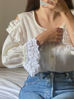 Vintage Austrian crochet details open shoulder cream blouse