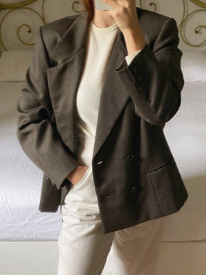 Vintage pure wool double breast striped blazer