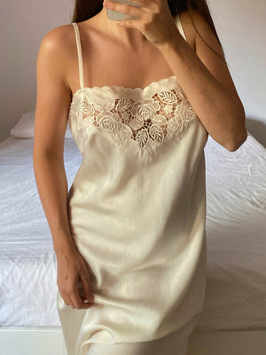 Vintage Italian pure silk embroidered details slip dress