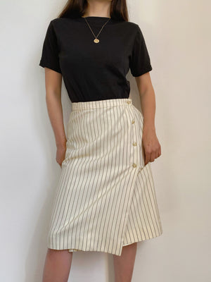 Vintage MaxMara lightweight pure wool striped wrap skirt