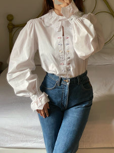 Vintage Austrian pure cotton lace collar puff sleeve blouse