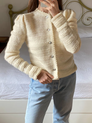 Vintage Austrian wool blend knitted cream cardigan