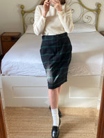 Vintage Les Copains wool and cashmere checked skirt