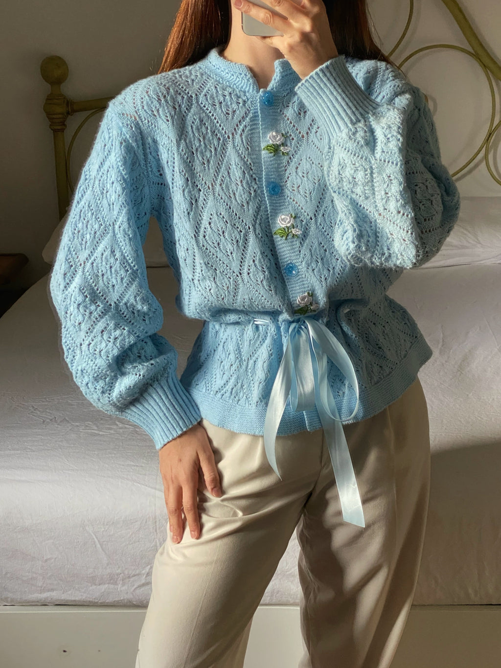 Vintage wool blend flowers appliquè knitted cardigan