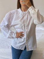 Vintage Italian lace big collar puff sleeve blouse
