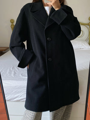 Vintage Italian wool and cashmere black coat