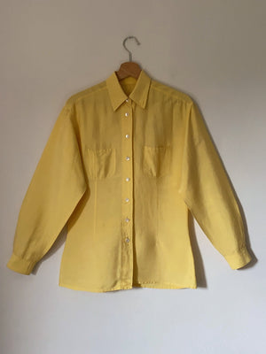 Vintage tailoring pure raw silk puff sleeve pockets yellow shirt