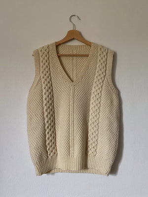 Vintage pure wool hand knitted cream vest
