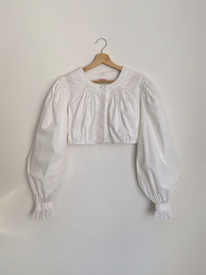 Vintage Austrian pure cotton puff maxi sleeve crop top