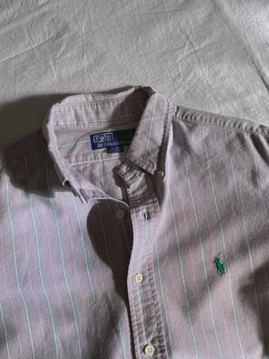 Vintage Ralph Lauren pure cotton striped blue man shirt