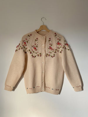 Vintage pure wool flowers embroideries light pink cardigan