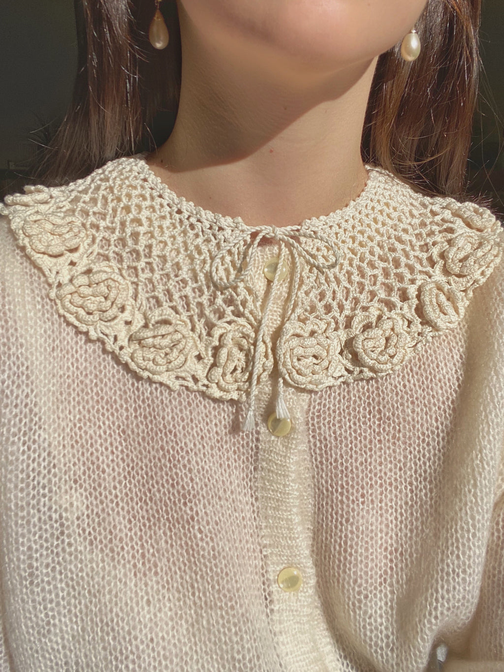 Vintage crochet cotton flower collar