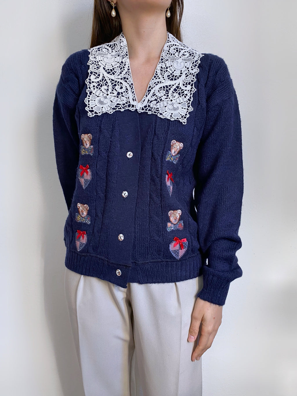 Vintage Italian alpaca embroidered blue cardigan