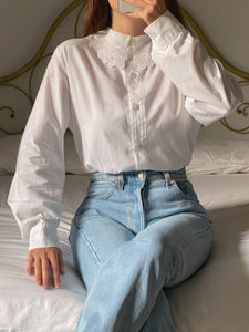 Vintage pure cotton lace collar shirt
