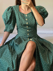 Vintage Austrian pure cotton leaves puff sleeve buttoned dress