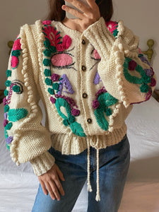 Vintage Austrian wool blend puff sleeve embroidered cream cardigan