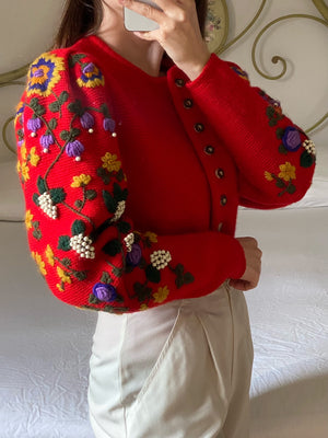 Vintage Austrian pure wool big puff sleeve embroidered cardigan