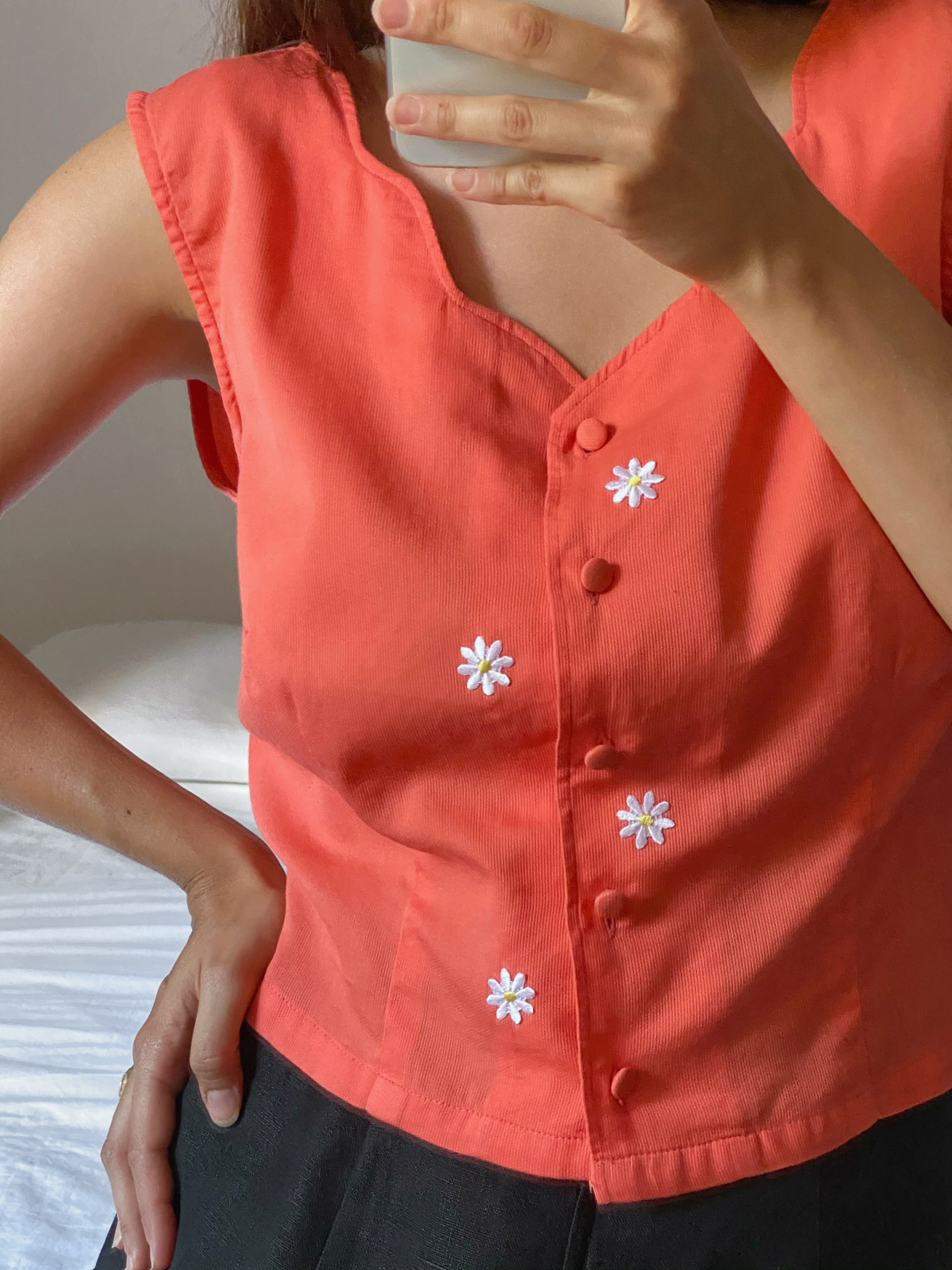 Vintage Stefanel pure cotton hand appliques top