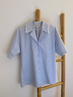 Vintage Italian pure cotton vichy collar shirt