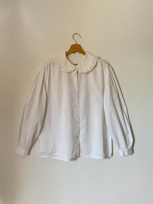 Vintage pure cotton maxi collar puff sleeve shirt