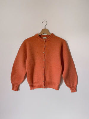 Vintage pure Shetland wool jewels buttons salmon cardigan