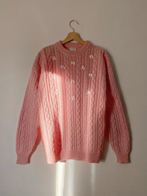 Vintage Italian pure wool cable knit ribbons pink pull