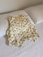 Vintage handmade flowers vest with jewels buttons