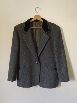 Vintage Italian pure wool tweed blazer with velvet details