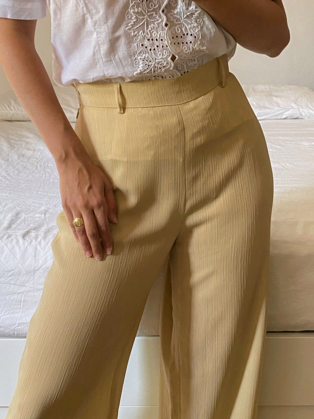 Vintage Marella high waist wide leg beige sheer pants