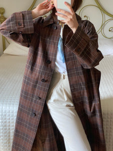 Ports1961 cotton blend check brown classic belted trench