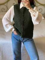 Vintage Austrian pure wool knitted green vest
