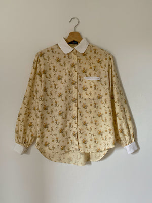 Vintage LesCopains wool and cotton flowers flannel shirt