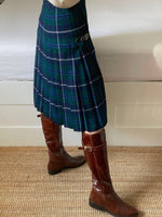Vintage pure wool pleated tartan kilt skirt