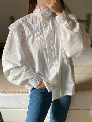 Vintage pure cotton embroidered details puff sleeve high collar shirt