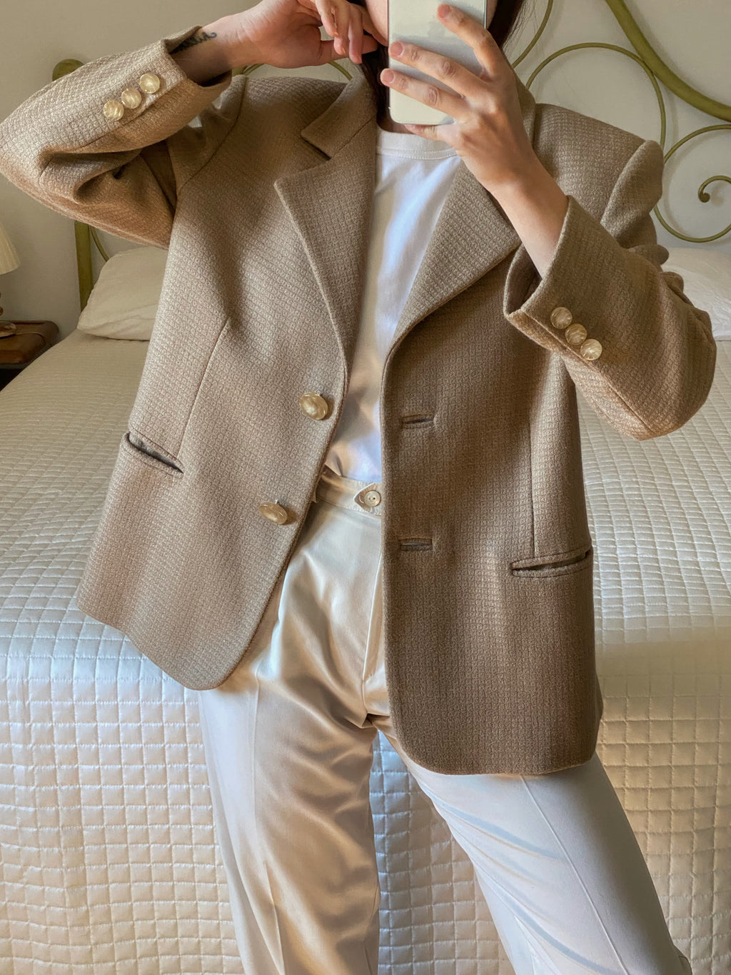 Vintage Made in Italy pure wool classic beige blazer