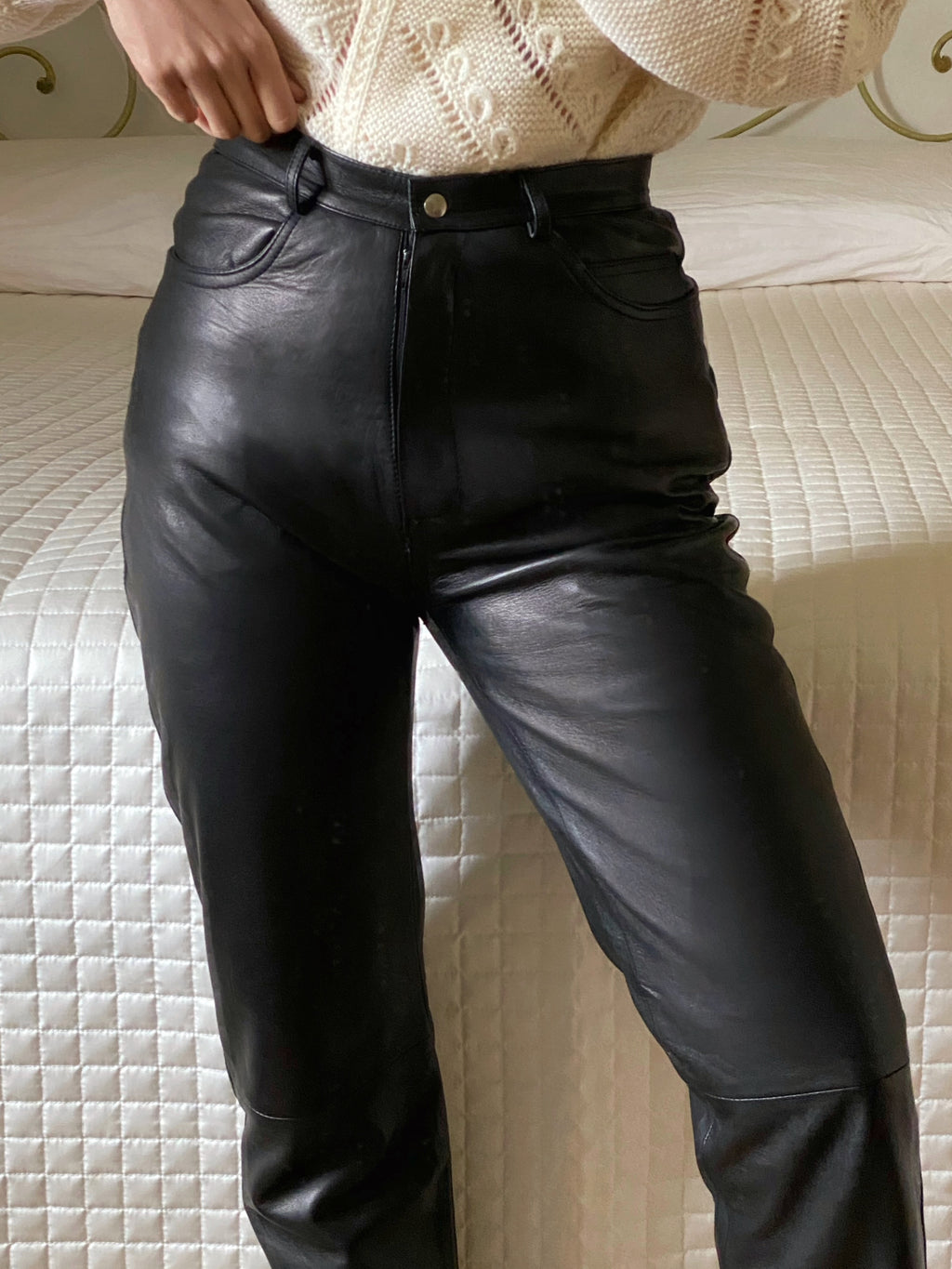 Vintage made in Italy real leather high waist black pants