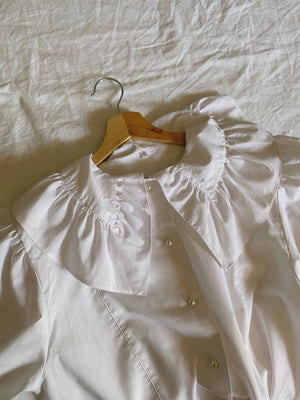 Vintage Austrian maxi collar pearl buttons puff sleeve blouse