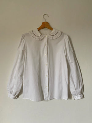 Vintage Italian pure cotton puff sleeve collar shirt
