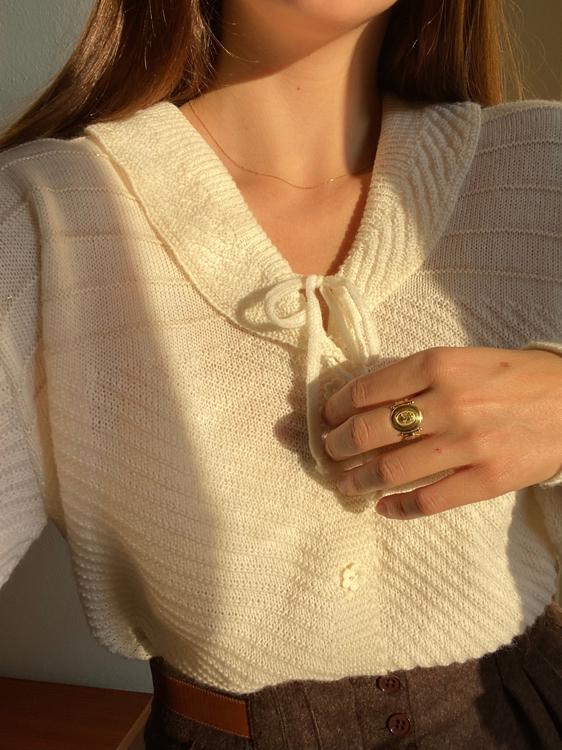 Vintage Italian wool blend knitted golden details cream cardigan